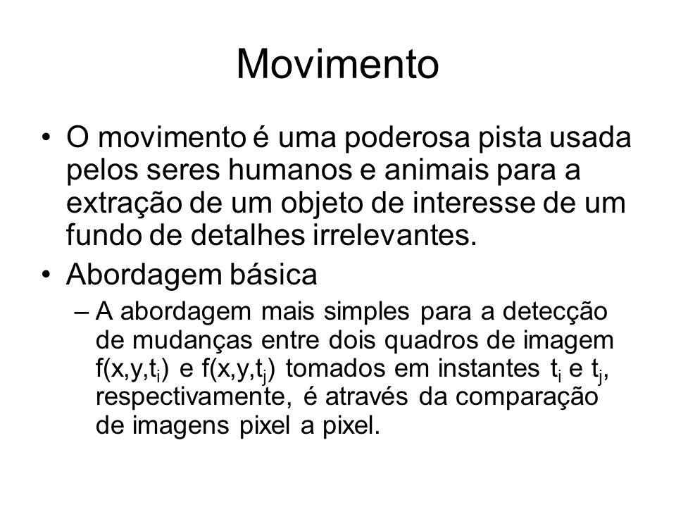 Movimento O movimento é uma poderosa pista usada pelos seres humanos e animais para a extração de um objeto de interesse de um fundo de detalhes irrel