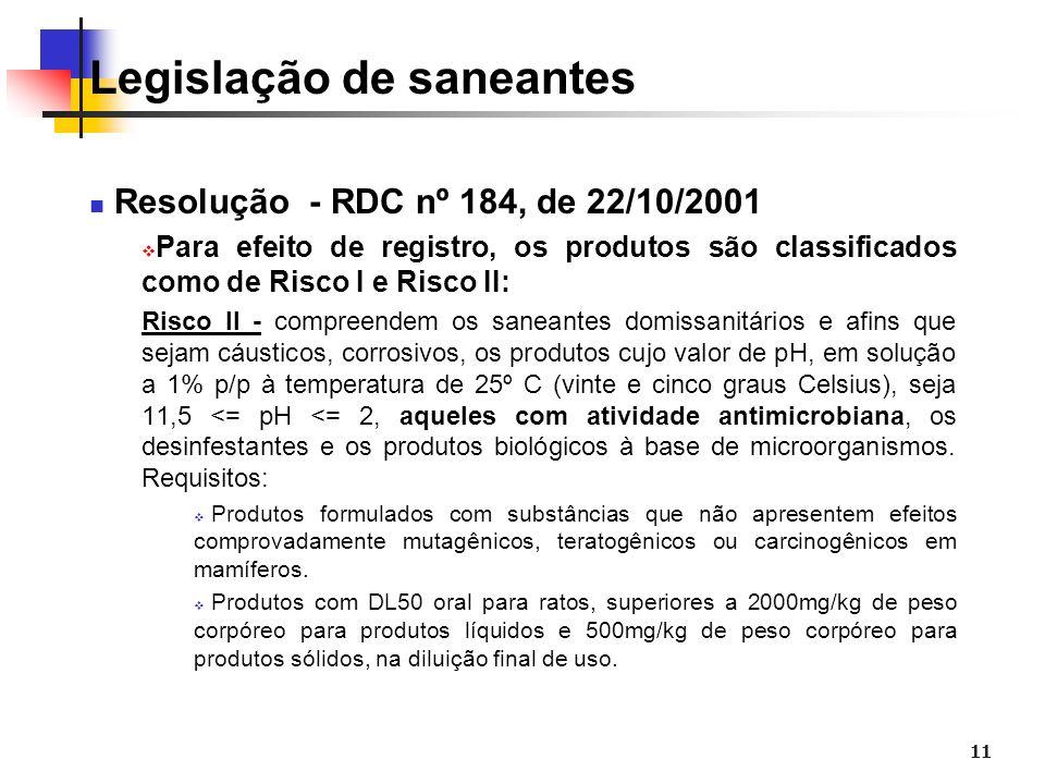 11 Legislação de saneantes Resolução - RDC nº 184, de 22/10/2001 Para efeito de registro, os produtos são classificados como de Risco I e Risco II: Ri
