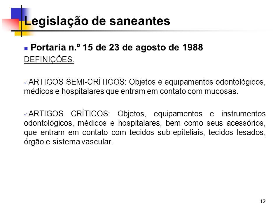12 Legislação de saneantes Portaria n.º 15 de 23 de agosto de 1988 DEFINIÇÕES: ARTIGOS SEMI-CRÍTICOS: Objetos e equipamentos odontológicos, médicos e