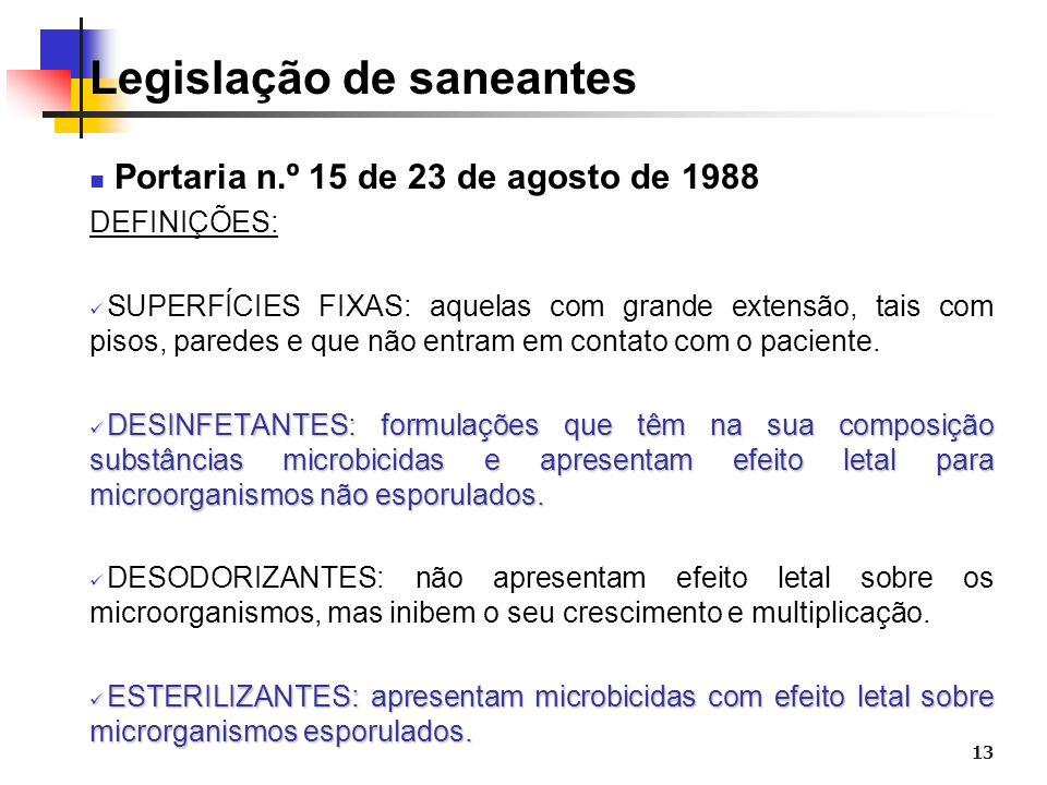 13 Legislação de saneantes Portaria n.º 15 de 23 de agosto de 1988 DEFINIÇÕES: SUPERFÍCIES FIXAS: aquelas com grande extensão, tais com pisos, paredes