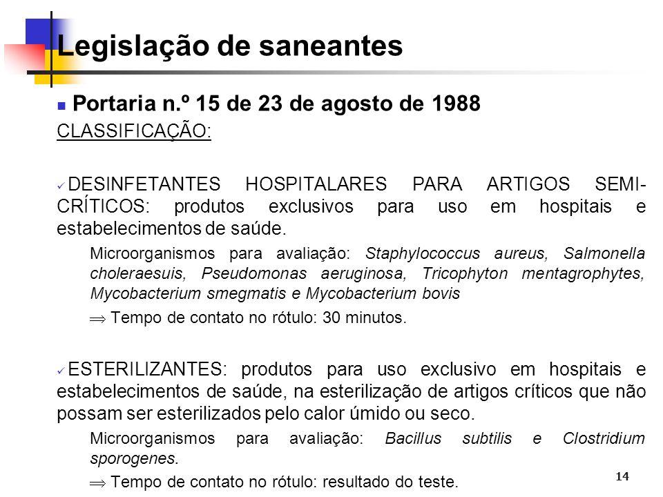 14 Legislação de saneantes Portaria n.º 15 de 23 de agosto de 1988 CLASSIFICAÇÃO: DESINFETANTES HOSPITALARES PARA ARTIGOS SEMI- CRÍTICOS: produtos exc