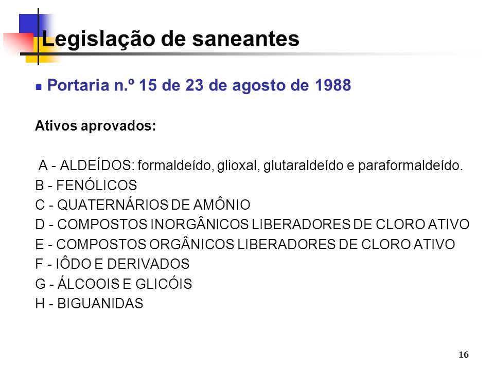 16 Legislação de saneantes Portaria n.º 15 de 23 de agosto de 1988 Ativos aprovados: A - ALDEÍDOS: formaldeído, glioxal, glutaraldeído e paraformaldeí
