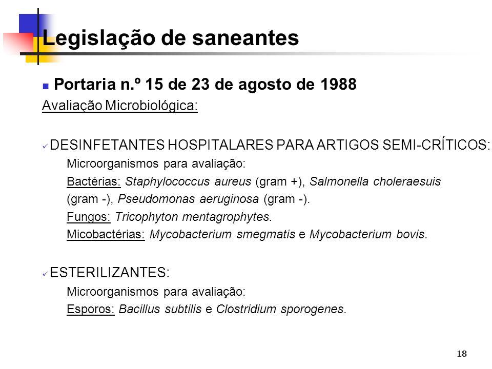 18 Legislação de saneantes Portaria n.º 15 de 23 de agosto de 1988 Avaliação Microbiológica: DESINFETANTES HOSPITALARES PARA ARTIGOS SEMI-CRÍTICOS: Mi
