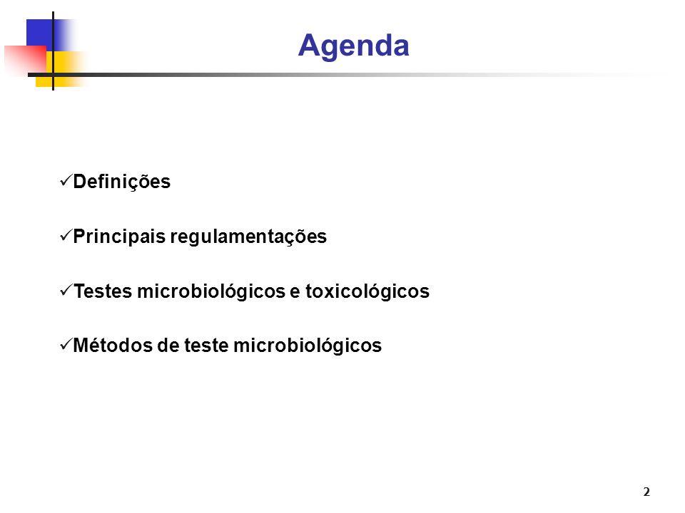 2 Agenda Definições Principais regulamentações Testes microbiológicos e toxicológicos Métodos de teste microbiológicos