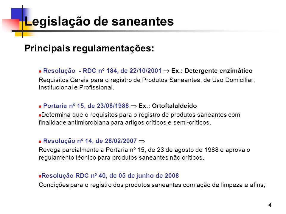 4 Legislação de saneantes Principais regulamentações: Resolução - RDC nº 184, de 22/10/2001 Ex.: Detergente enzimático Requisitos Gerais para o regist