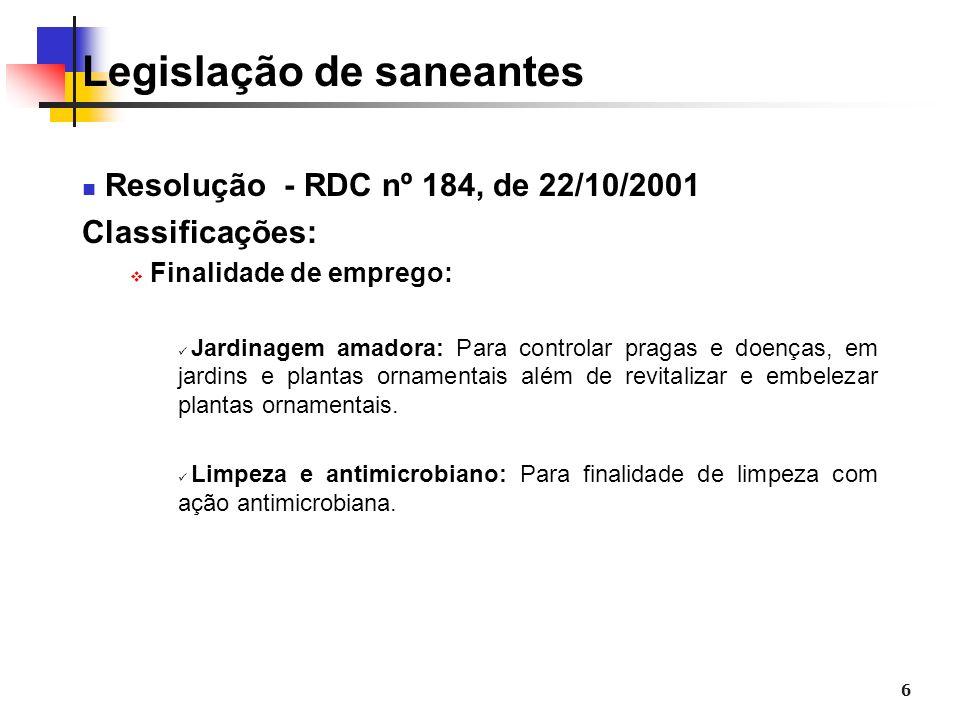 6 Legislação de saneantes Resolução - RDC nº 184, de 22/10/2001 Classificações: Finalidade de emprego: Jardinagem amadora: Para controlar pragas e doe
