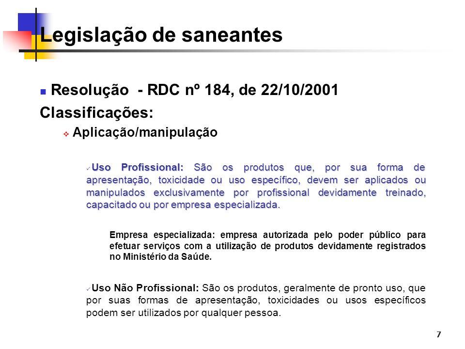 7 Legislação de saneantes Resolução - RDC nº 184, de 22/10/2001 Classificações: Aplicação/manipulação Uso Profissional: São os produtos que, por sua f