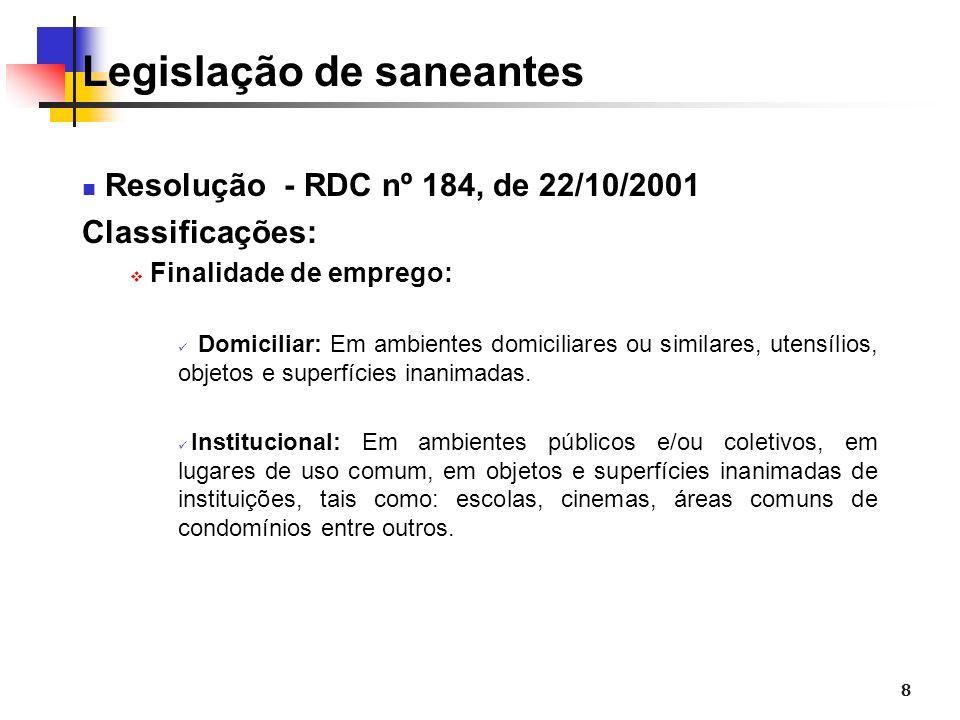 8 Legislação de saneantes Resolução - RDC nº 184, de 22/10/2001 Classificações: Finalidade de emprego: Domiciliar: Em ambientes domiciliares ou simila