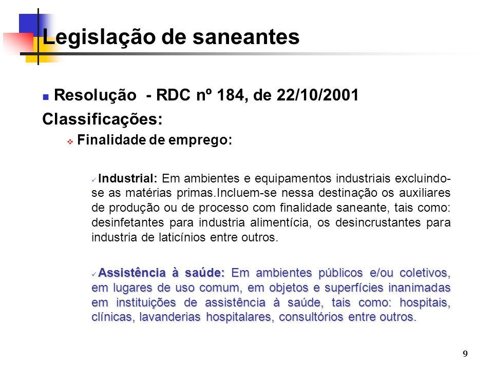 9 Legislação de saneantes Resolução - RDC nº 184, de 22/10/2001 Classificações: Finalidade de emprego: Industrial: Em ambientes e equipamentos industr