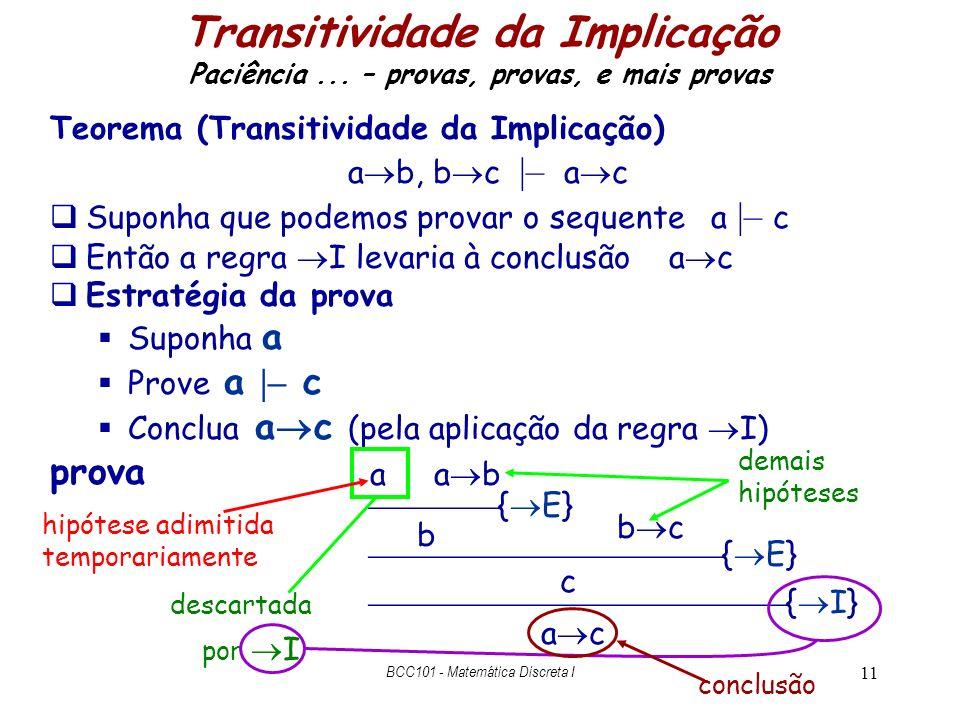 11 Transitividade da Implicação Paciência... – provas, provas, e mais provas Teorema (Transitividade da Implicação) a b, b c |– a c Suponha que podemo