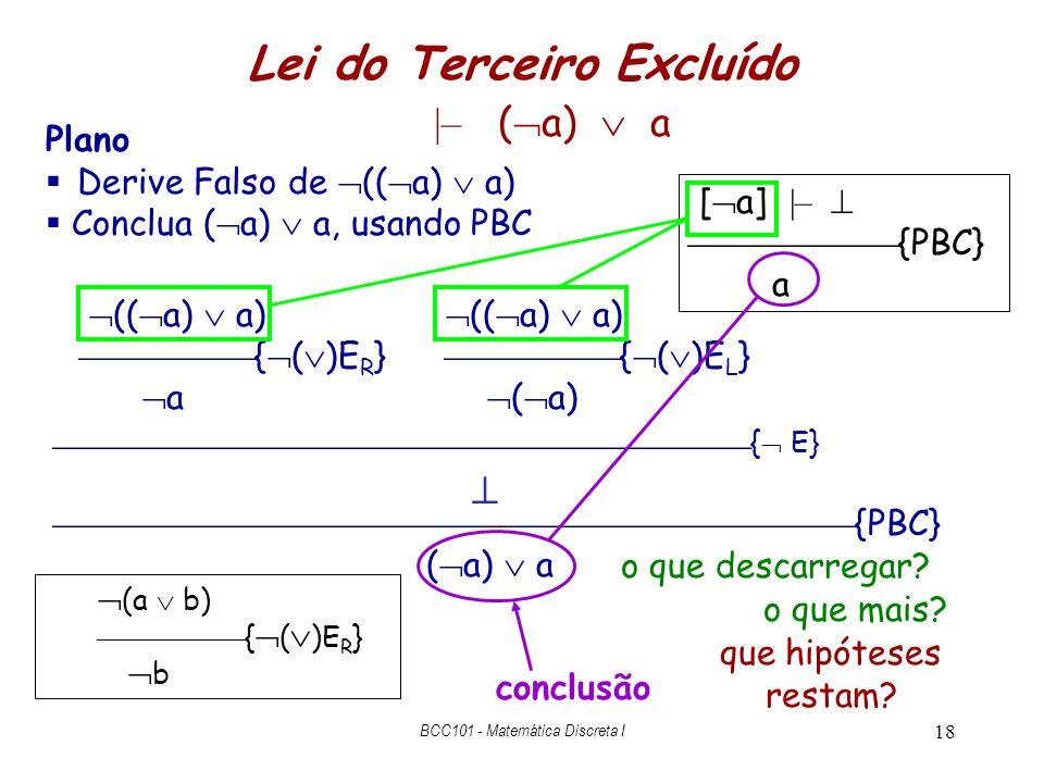 18 (( a) a) Lei do Terceiro Excluído |– ( a) a { ( )E R } a (( a) a) { ( )E L } ( a) {PBC} ( a) a { E} [ a] |– {PBC} a o que descarregar? que hipótese