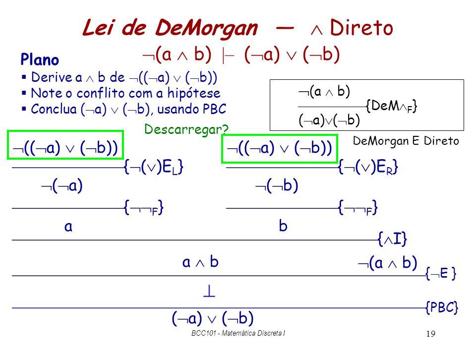 19 Lei de DeMorgan Direto (a b) |– ( a) ( b) ( a) ( b) Plano Derive a b de (( a) ( b)) Note o conflito com a hipótese Conclua ( a) ( b), usando PBC (a