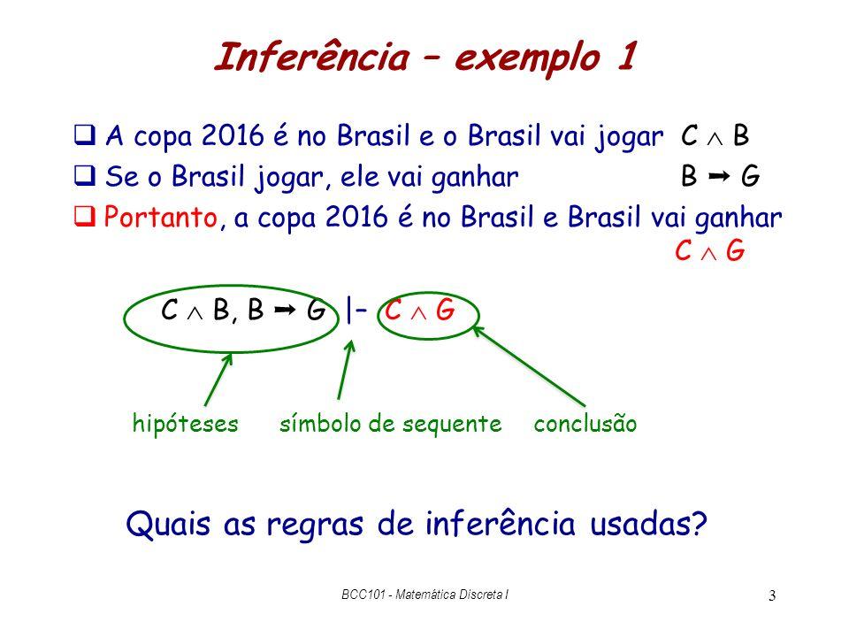 Inferência – exemplo 1 A copa 2016 é no Brasil e o Brasil vai jogar C B Se o Brasil jogar, ele vai ganhar B G Portanto, a copa 2016 é no Brasil e Bras