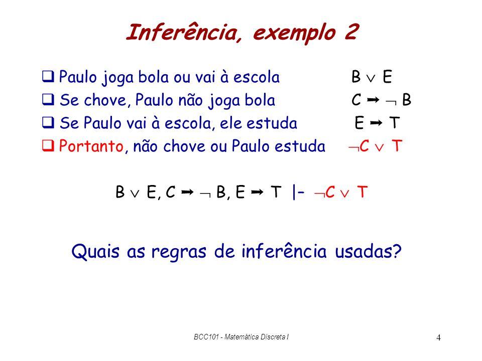 Inferência, exemplo 2 Paulo joga bola ou vai à escola B E Se chove, Paulo não joga bola C B Se Paulo vai à escola, ele estuda E T Portanto, não chove