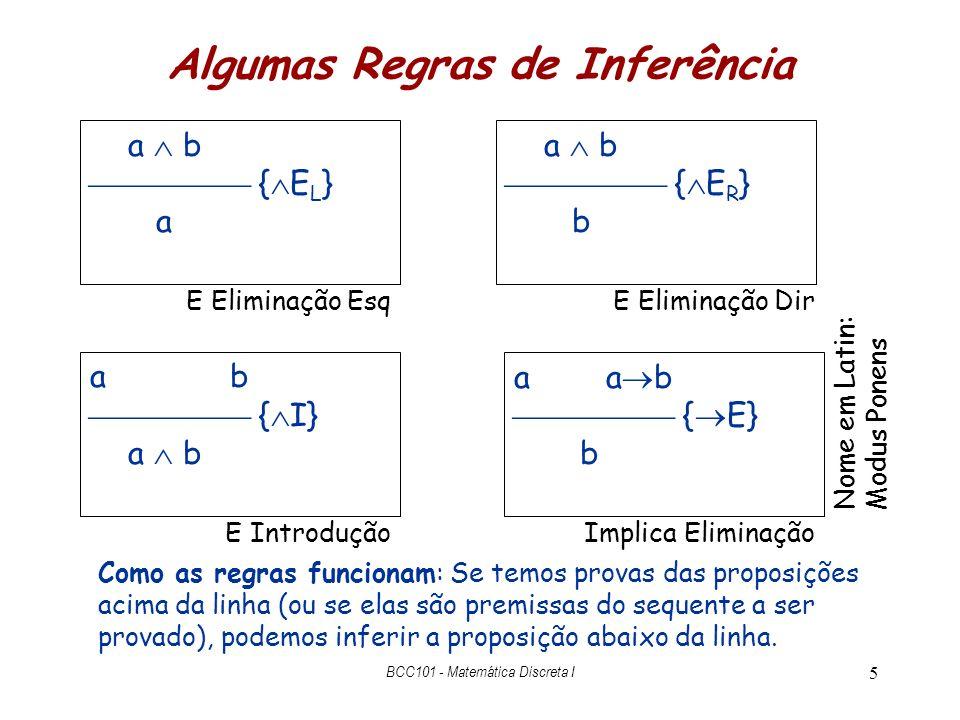 6 Prova C B, B G  – C G C B { E R } B C B { E L } C { I} C G prova de C dado C B hipótese prova de B dado C B Pode-se reusar uma hipótese do teorema BCC101 - Matemática Discreta I prova de G dado C B e B G { E} B G G hipótese