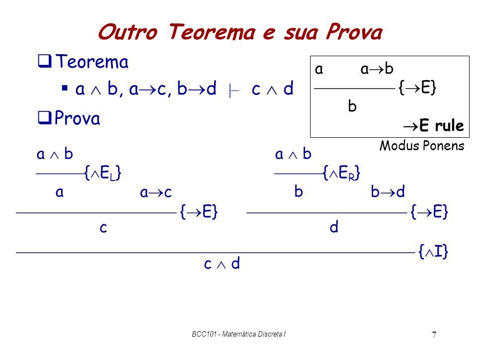 7 Outro Teorema e sua Prova Teorema a b, a c, b d |– c d Prova a b { E R } b a b { E L } a { I} c d { E} a c { E} b d cd a a b { E} b E rule Modus Pon