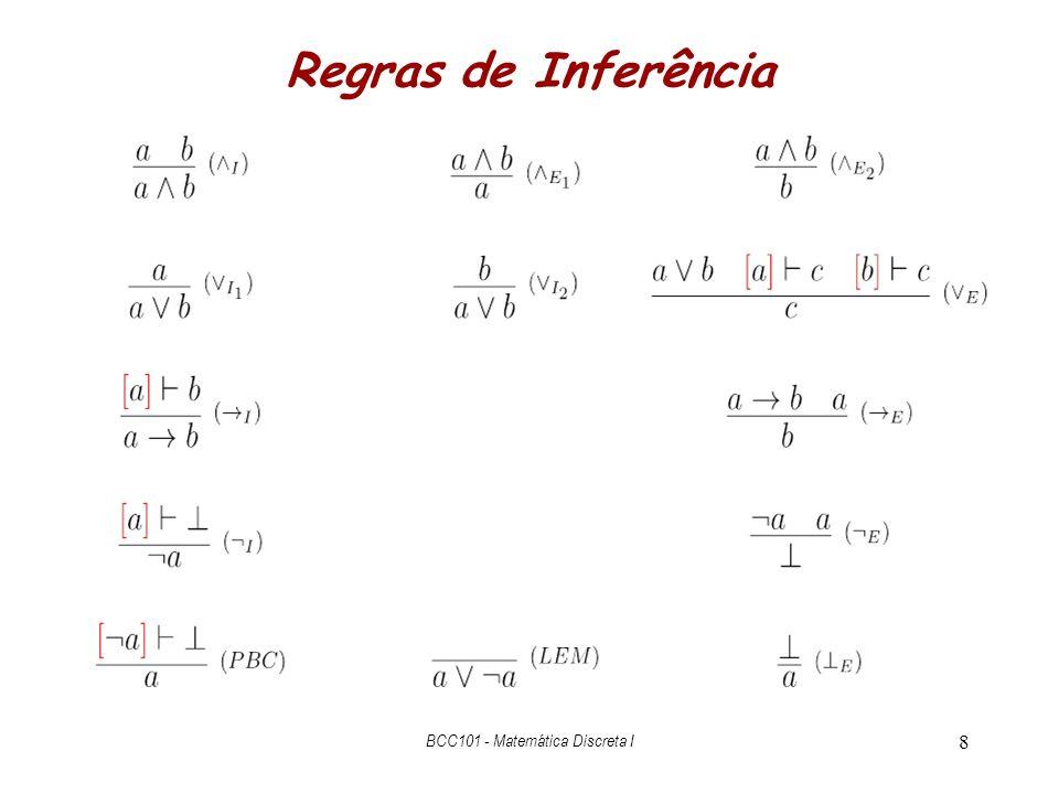 19 Lei de DeMorgan Direto (a b)  – ( a) ( b) ( a) ( b) Plano Derive a b de (( a) ( b)) Note o conflito com a hipótese Conclua ( a) ( b), usando PBC (a b) {DeM F } ( a) ( b) DeMorgan E Direto (( a) ( b)) { ( )E L } ( a) { F } a (( a) ( b)) { ( )E R } ( b) { F } b { I} a b (a b) {PBC} { E } Descarregar.