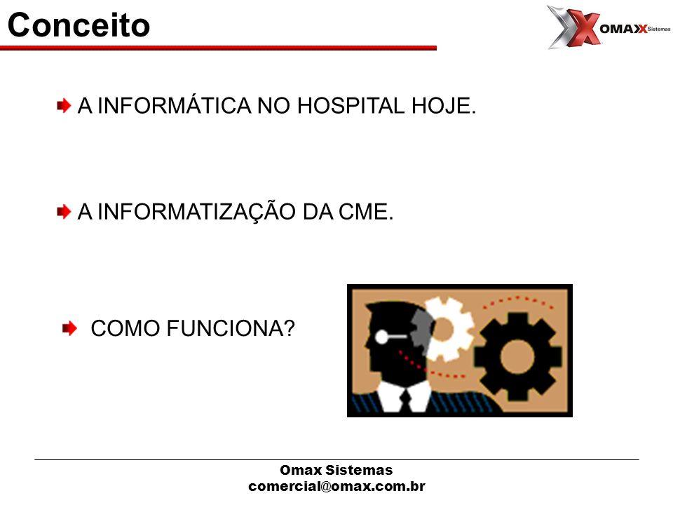 Omax Sistemas comercial@omax.com.br Conceito A INFORMÁTICA NO HOSPITAL HOJE. A INFORMATIZAÇÃO DA CME. COMO FUNCIONA?