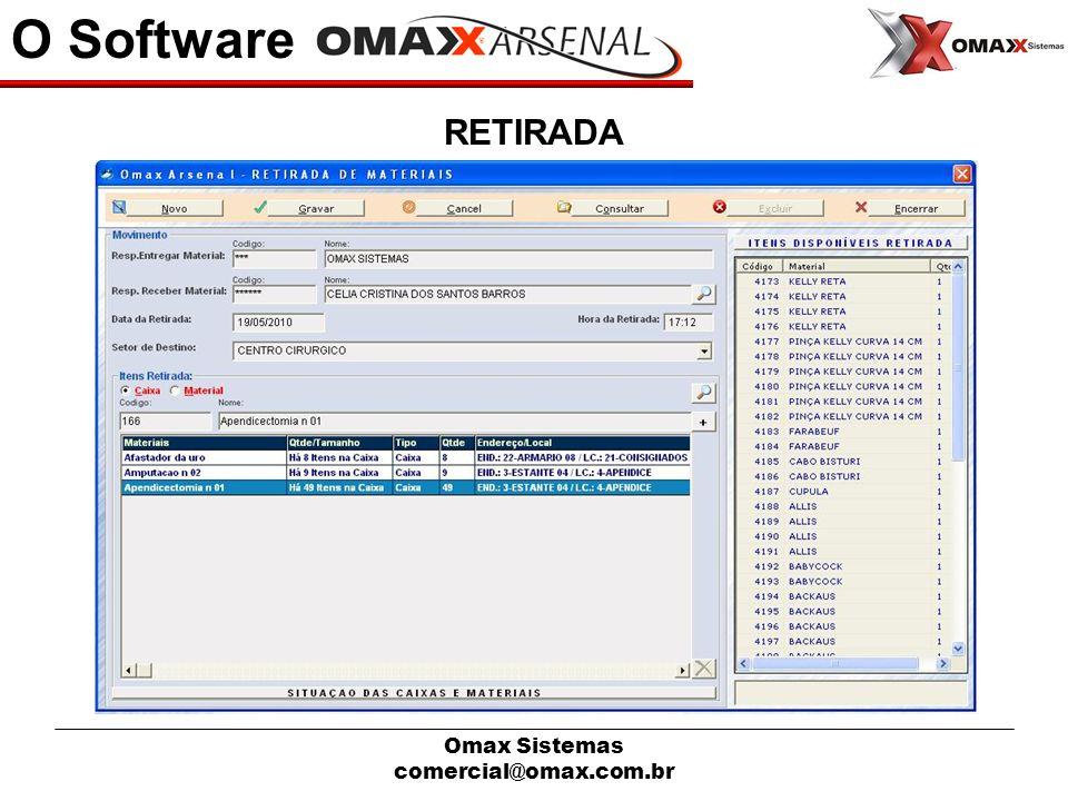 Omax Sistemas comercial@omax.com.br O Software RETIRADA