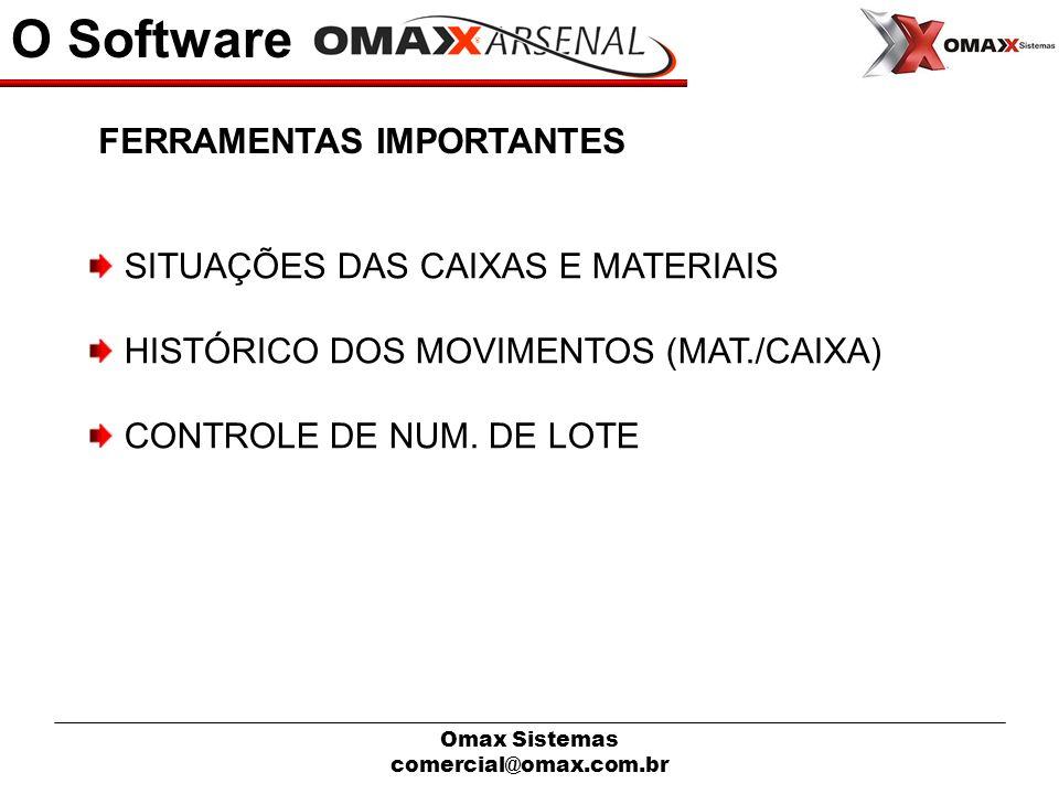 Omax Sistemas comercial@omax.com.br O Software SITUAÇÕES DAS CAIXAS E MATERIAIS HISTÓRICO DOS MOVIMENTOS (MAT./CAIXA) CONTROLE DE NUM. DE LOTE FERRAME