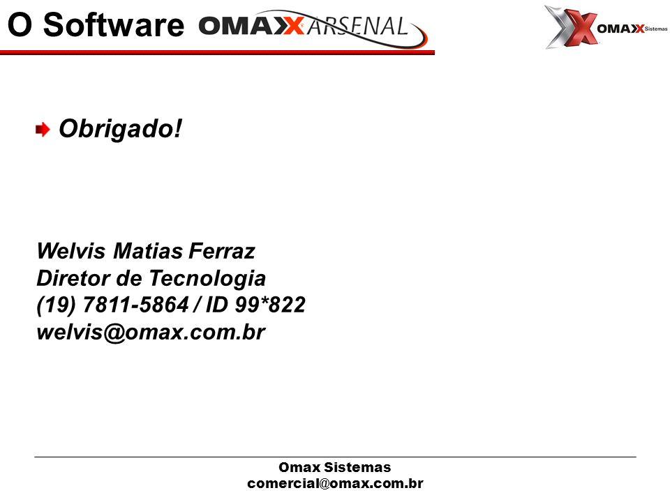 Omax Sistemas comercial@omax.com.br O Software Obrigado! Welvis Matias Ferraz Diretor de Tecnologia (19) 7811-5864 / ID 99*822 welvis@omax.com.br