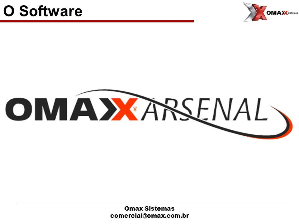 Omax Sistemas comercial@omax.com.br O Software Desenvolvimento do Software(Aplicativo) Desenvolvido em Visual Studio / Dot.Net Banco de Dados MS-SQLServer Gerador de Relalórios Crystal Reports Arquitetura Cliente Servidor O Cliente e o Servidor de Aplicação devem ser Windows Comunicação Cliente e o Servidor Total TCP/IP.