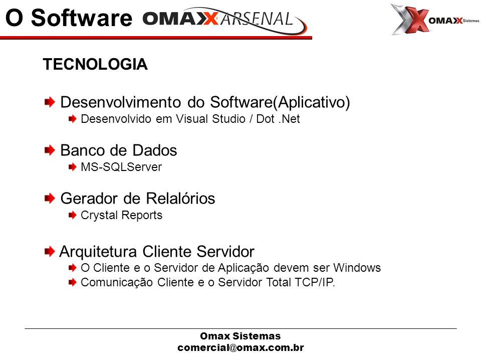 Omax Sistemas comercial@omax.com.br O Software Desenvolvimento do Software(Aplicativo) Desenvolvido em Visual Studio / Dot.Net Banco de Dados MS-SQLSe