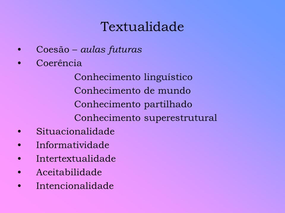 Conhecimento linguístico Corresponde ao conhecimento linguístico que o leitor/ ouvinte deve ter para compreender/ se fazer compreendido.