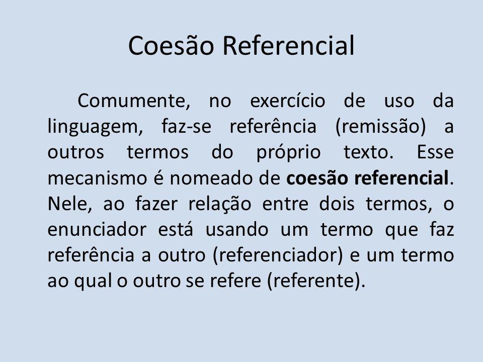 Coesão Referencial Comumente, no exercício de uso da linguagem, faz-se referência (remissão) a outros termos do próprio texto. Esse mecanismo é nomead