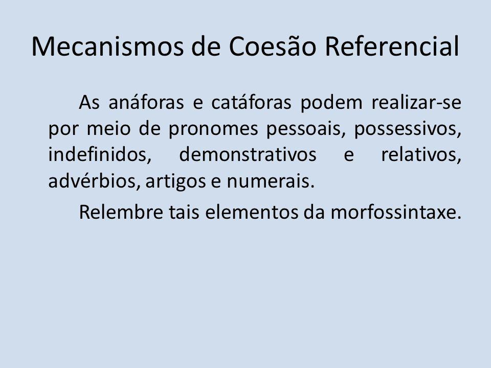 Mecanismos de Coesão Referencial As anáforas e catáforas podem realizar-se por meio de pronomes pessoais, possessivos, indefinidos, demonstrativos e r