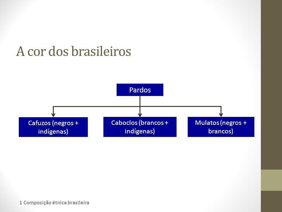 A cor dos brasileiros Pardos Cafuzos (negros + indígenas) Caboclos (brancos + indígenas) Mulatos (negros + brancos) 1 Composição étnica brasileira