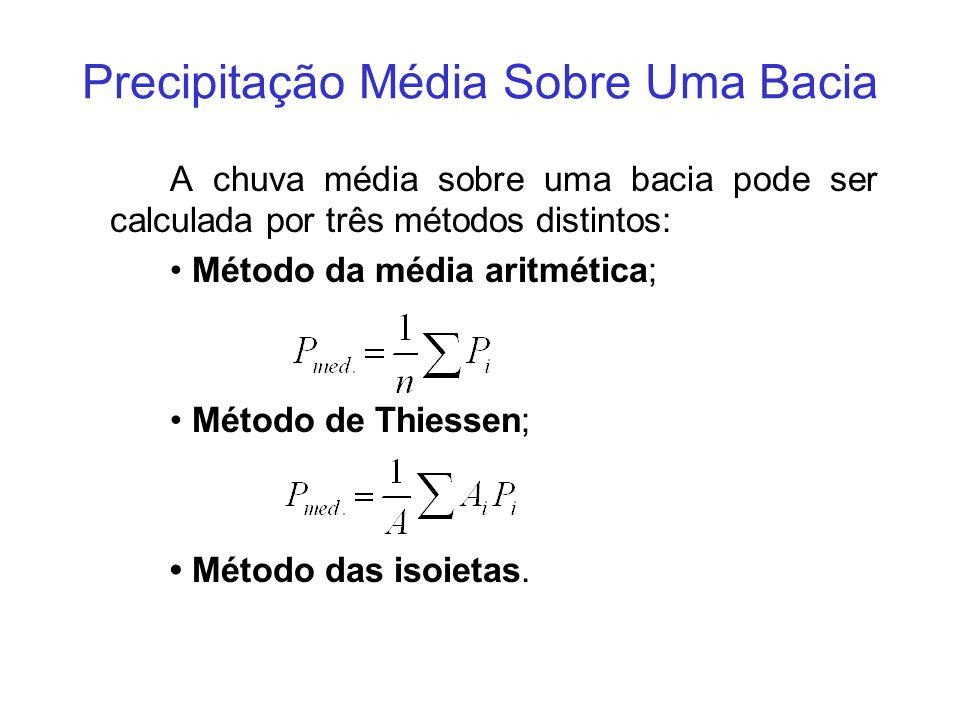 Precipitação Média Sobre Uma Bacia A chuva média sobre uma bacia pode ser calculada por três métodos distintos: Método da média aritmética; Método de