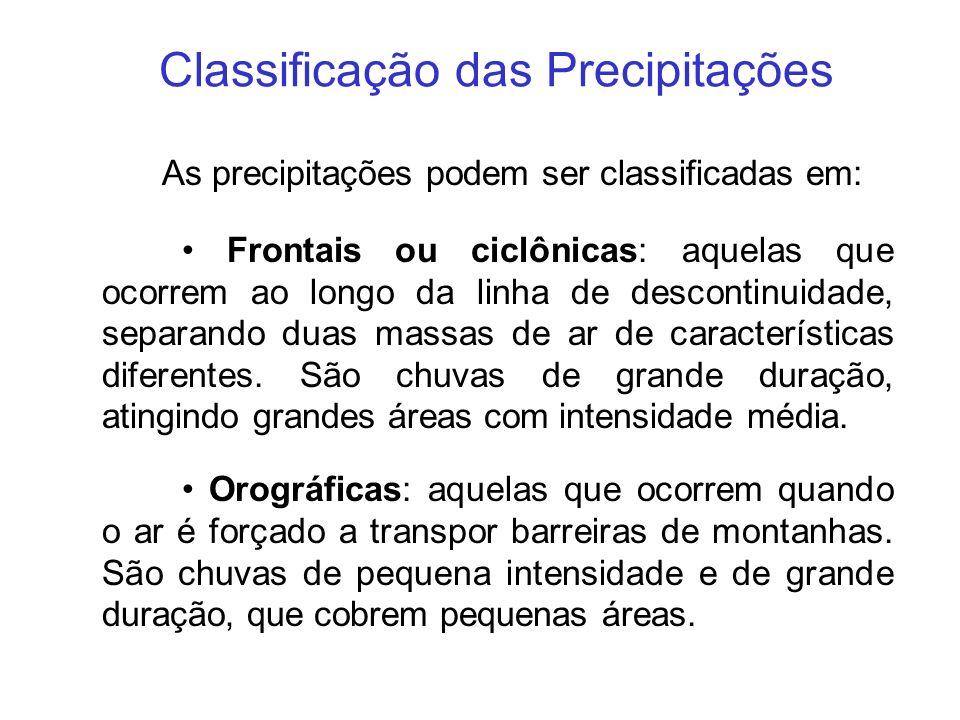 Classificação das Precipitações As precipitações podem ser classificadas em: Frontais ou ciclônicas: aquelas que ocorrem ao longo da linha de desconti