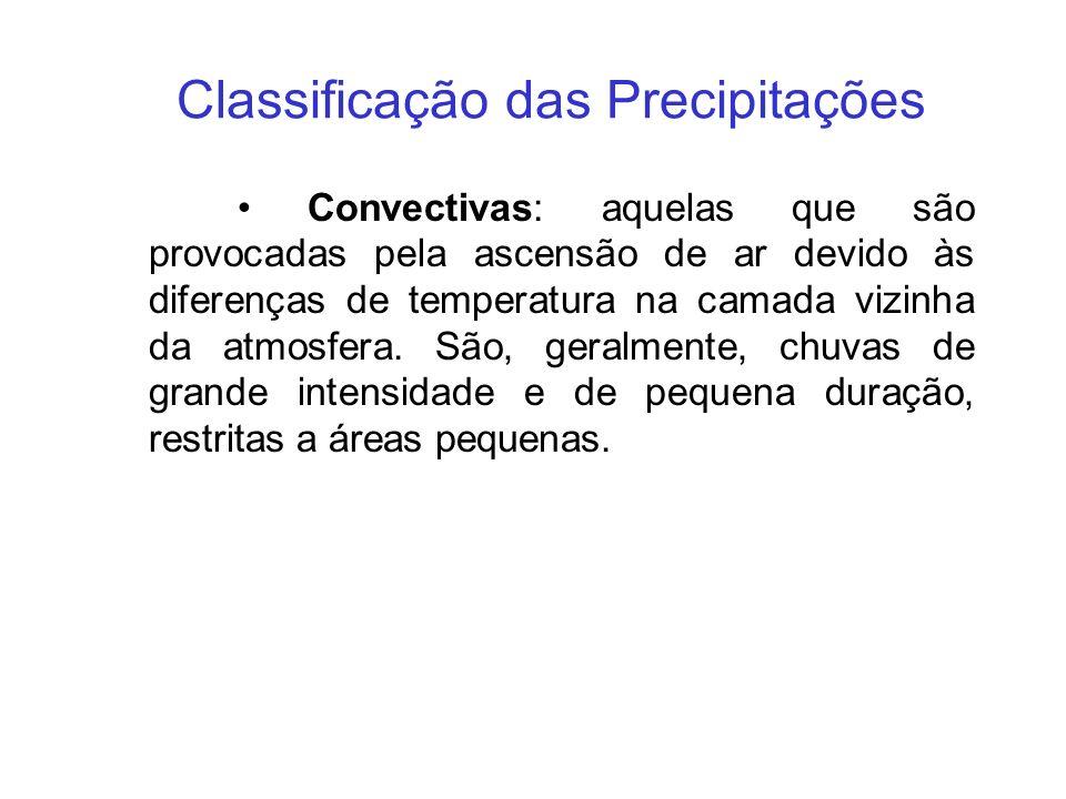 Classificação das Precipitações Convectivas: aquelas que são provocadas pela ascensão de ar devido às diferenças de temperatura na camada vizinha da a