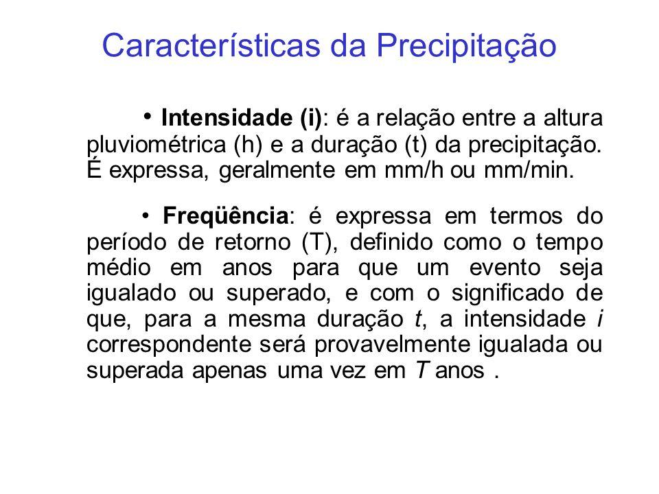 Características da Precipitação Intensidade (i): é a relação entre a altura pluviométrica (h) e a duração (t) da precipitação. É expressa, geralmente