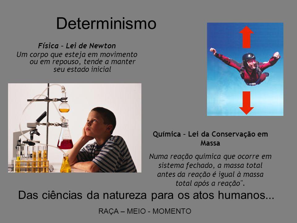 Determinismo Física – Lei de Newton Um corpo que esteja em movimento ou em repouso, tende a manter seu estado inicial Química – Lei da Conservação em