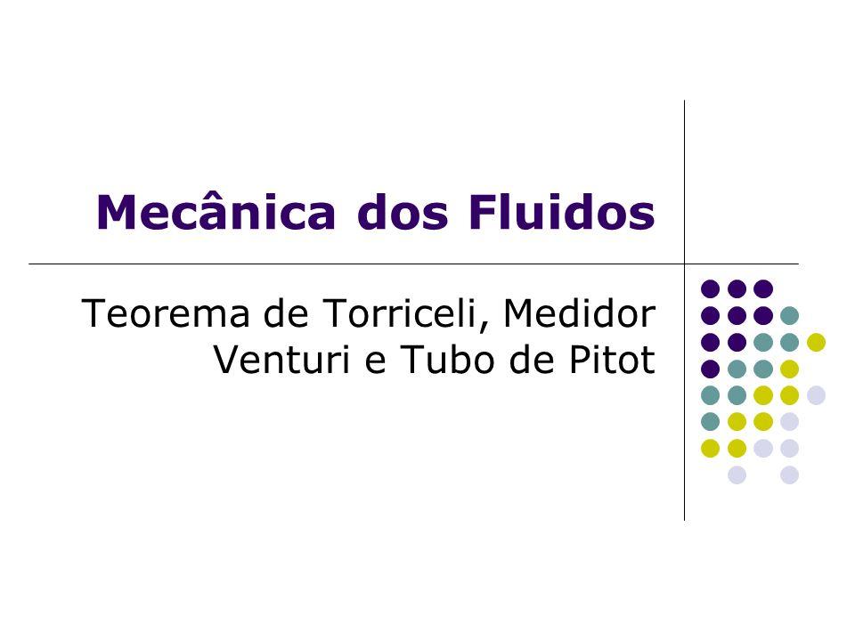 Mecânica dos Fluidos Teorema de Torriceli, Medidor Venturi e Tubo de Pitot