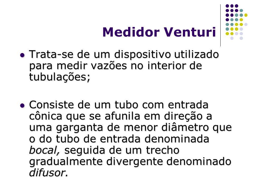 Medidor Venturi Trata-se de um dispositivo utilizado para medir vazões no interior de tubulações; Trata-se de um dispositivo utilizado para medir vazõ