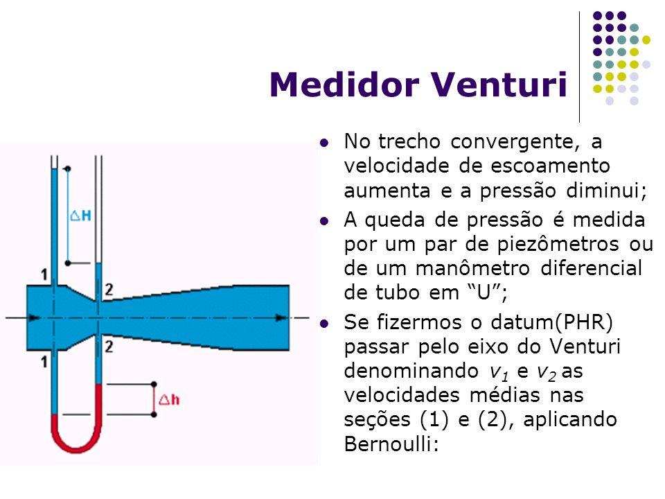 Medidor Venturi No trecho convergente, a velocidade de escoamento aumenta e a pressão diminui; A queda de pressão é medida por um par de piezômetros o