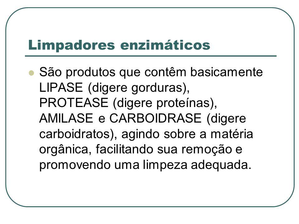 Limpadores enzimáticos São produtos que contêm basicamente LIPASE (digere gorduras), PROTEASE (digere proteínas), AMILASE e CARBOIDRASE (digere carboi