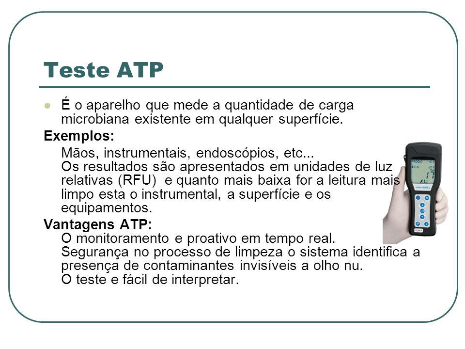 Teste ATP É o aparelho que mede a quantidade de carga microbiana existente em qualquer superfície. Exemplos: Mãos, instrumentais, endoscópios, etc...
