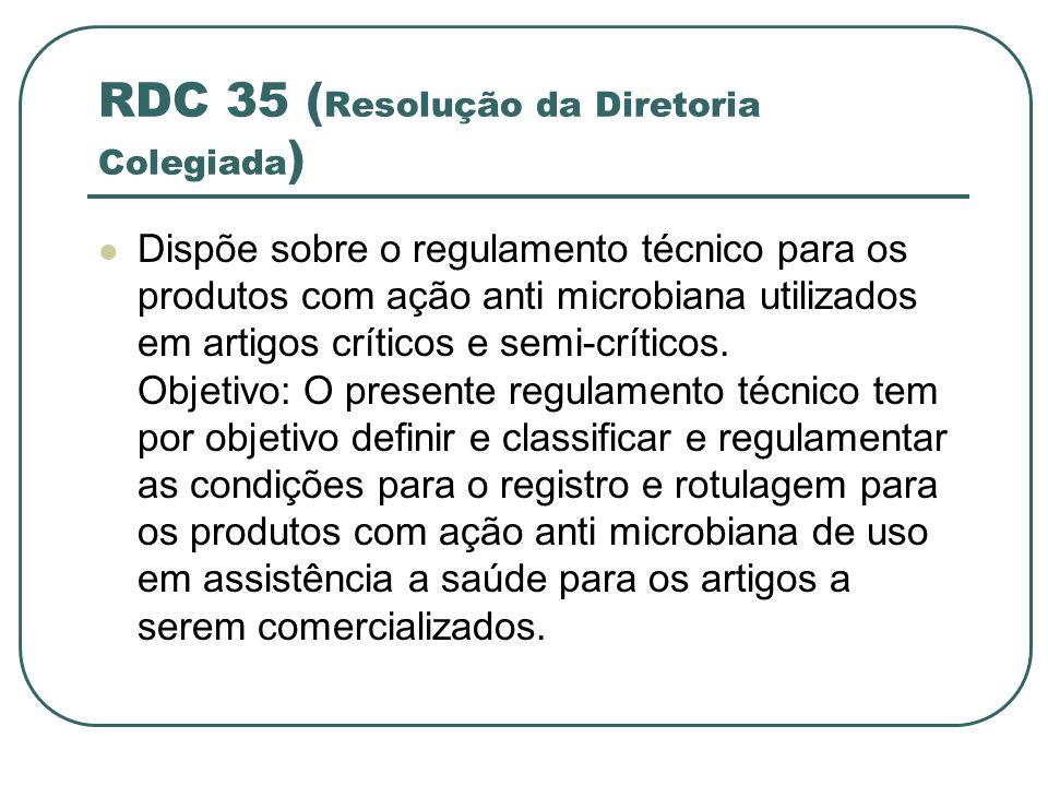 RDC 35 ( Resolução da Diretoria Colegiada ) Dispõe sobre o regulamento técnico para os produtos com ação anti microbiana utilizados em artigos crítico
