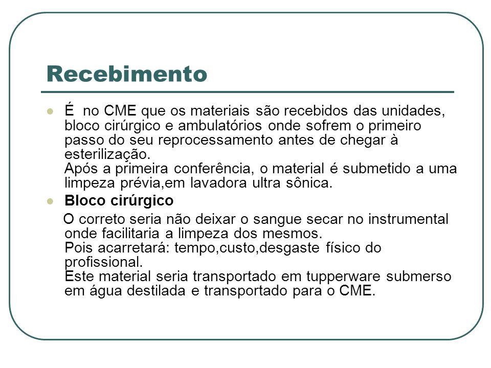 Recebimento É no CME que os materiais são recebidos das unidades, bloco cirúrgico e ambulatórios onde sofrem o primeiro passo do seu reprocessamento a