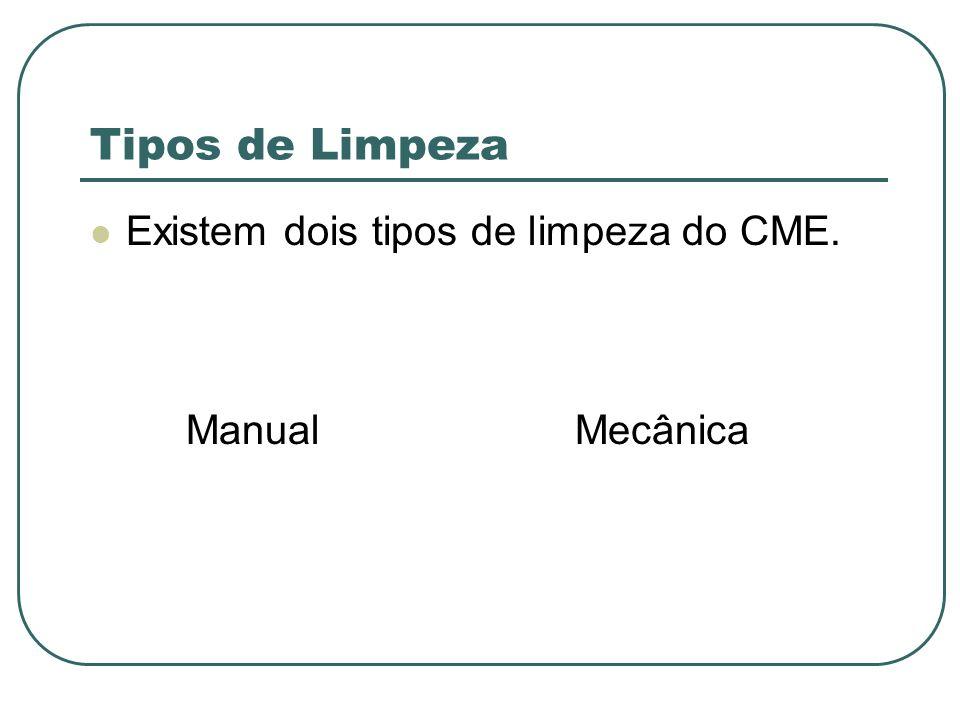 Tipos de Limpeza Existem dois tipos de limpeza do CME. Manual Mecânica