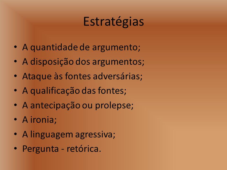 Estratégias A quantidade de argumento; A disposição dos argumentos; Ataque às fontes adversárias; A qualificação das fontes; A antecipação ou prolepse