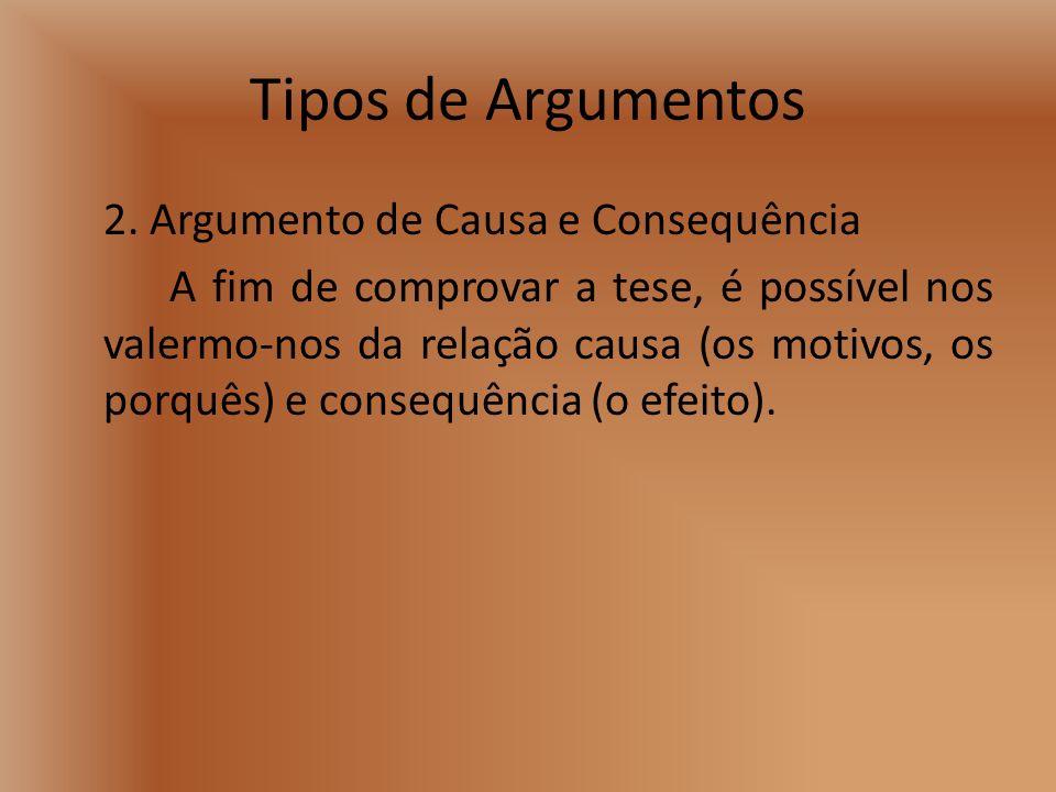 Tipos de Argumentos 2. Argumento de Causa e Consequência A fim de comprovar a tese, é possível nos valermo-nos da relação causa (os motivos, os porquê
