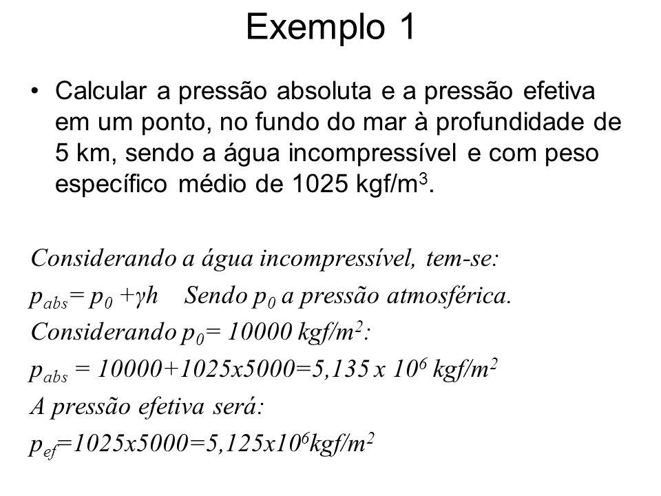Exemplo 2 Na superfície da água em uma cisterna, a pressão atmosférica absoluta corresponde a 740 mmHg.