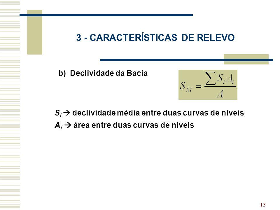 13 3 - CARACTERÍSTICAS DE RELEVO b) Declividade da Bacia S i declividade média entre duas curvas de níveis A i área entre duas curvas de níveis