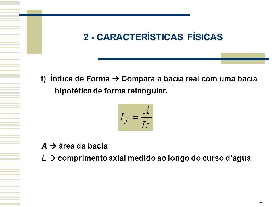 4 2 - CARACTERÍSTICAS FÍSICAS f) Índice de Forma Compara a bacia real com uma bacia hipotética de forma retangular. A área da bacia L comprimento axia