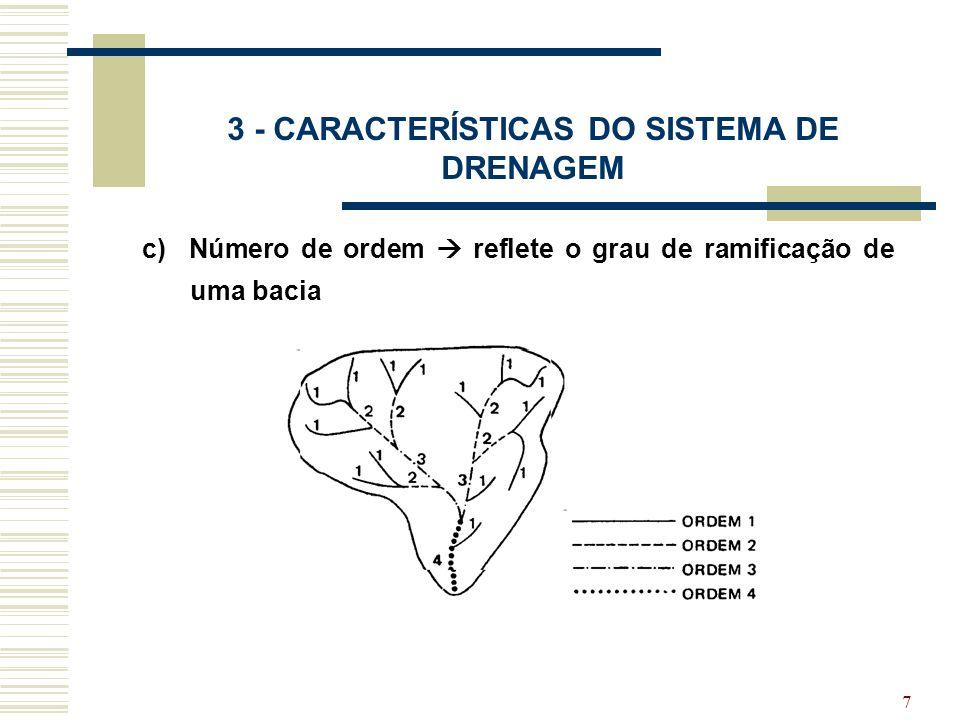 8 3 - CARACTERÍSTICAS DO SISTEMA DE DRENAGEM e) Declividade do rio principal d) Comprimento do rio principal Declividade global